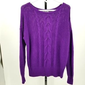 St. John's Bay Cable Knit Sweater Purple Cotton